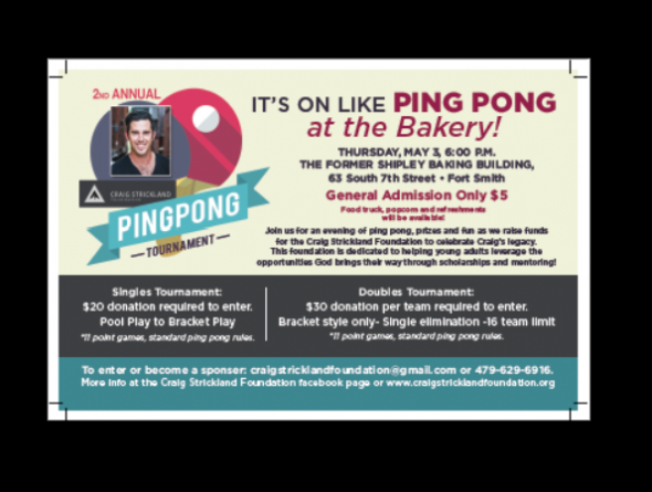 2nd Annual Ping Pong Tournament – Craig Strickland Foundation